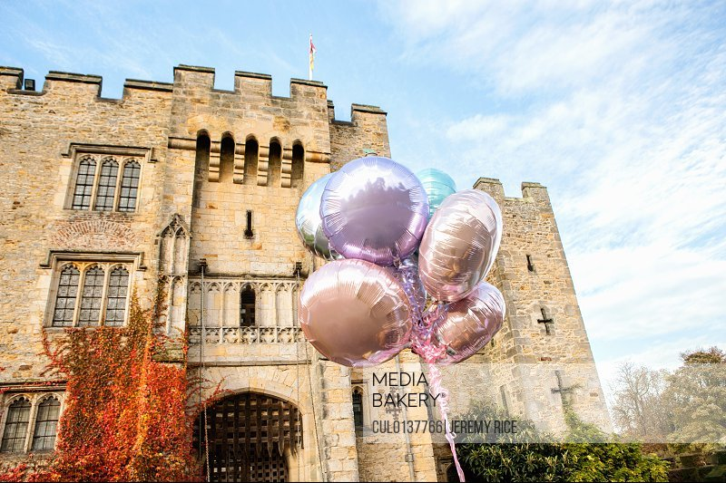 Balloons outside castle