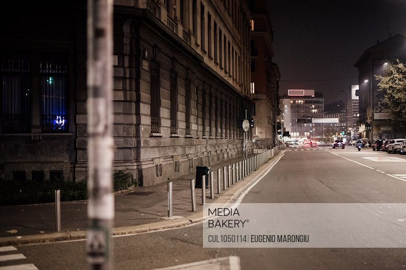 City street at night during 2020 Covid-19 Lockdown, Milan, Italy