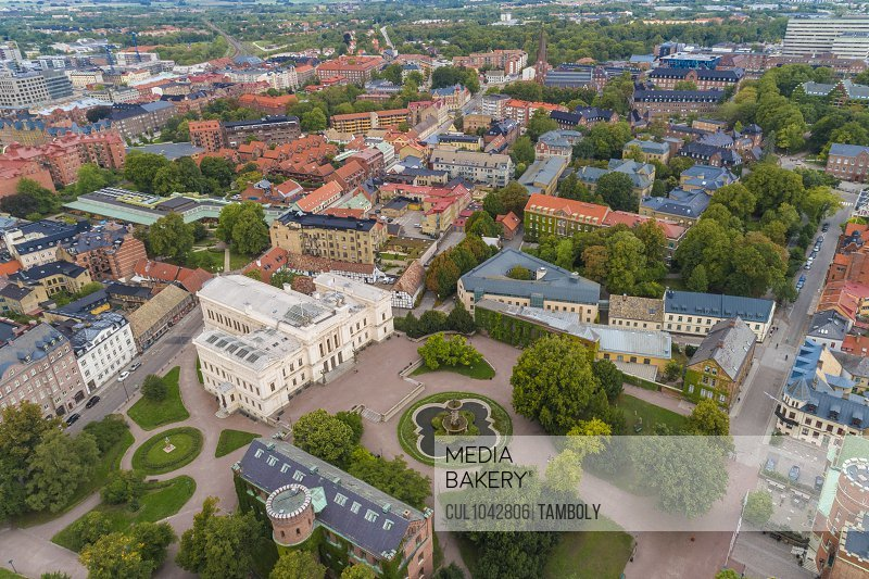 Aerial image of the town of Lund with the University in the foreground.