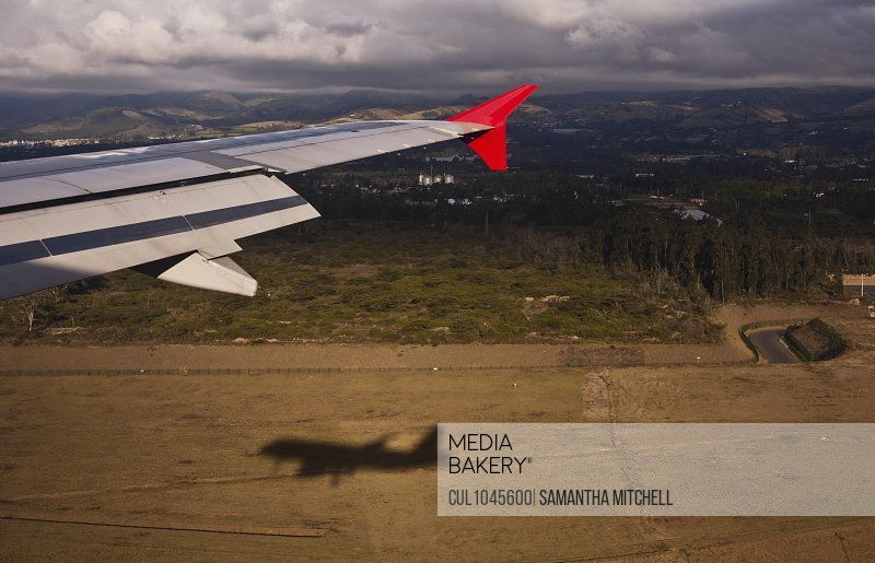 High angle view of airplane landing at Quito airport, Ecuador