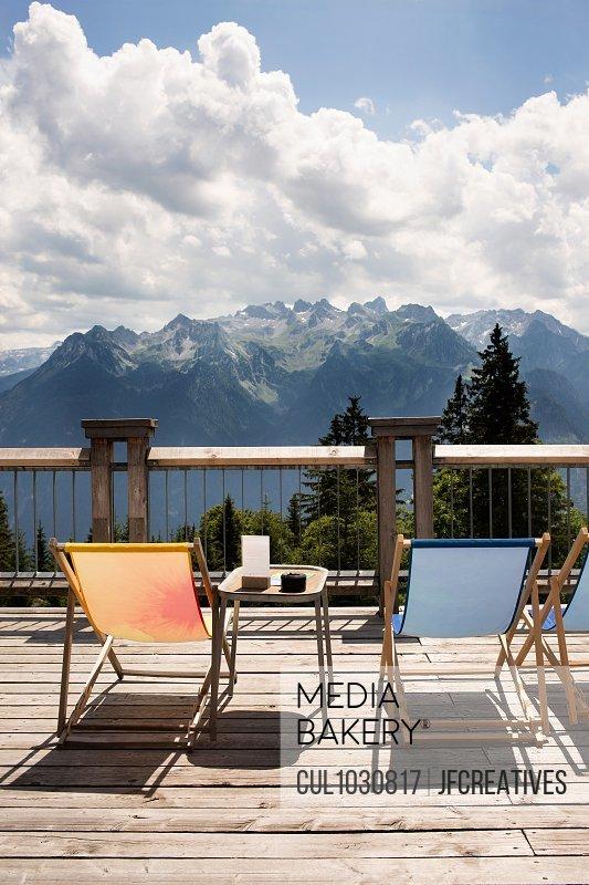 Viewing platform with deckchairs, Bludenz, Vorarlberg, Austria