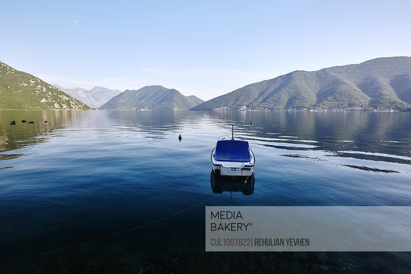 Motor boat anchored in Bay of Kotor, Montenegro