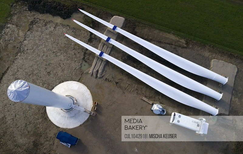 Aerial view of parts of a wind turbine before assembly, Gelderland, The Netherlands.
