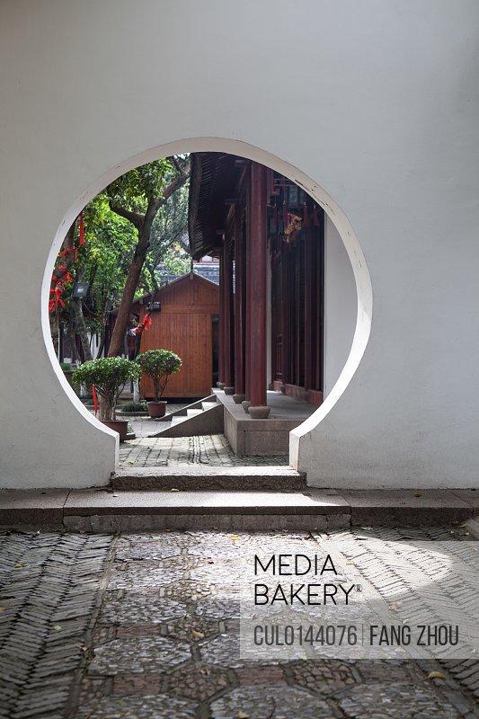 Circular entrance in garden Suzhou Jiangsu Province China