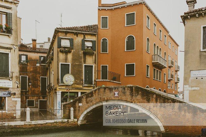Rio dei Tolentini canal in Venice, in the rain