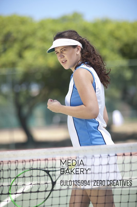 Tennis player celebrating