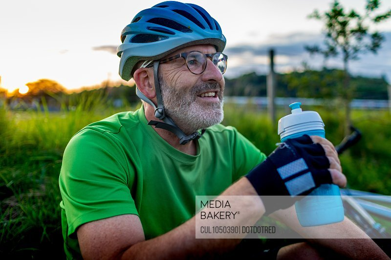 Cyclist with water bottle