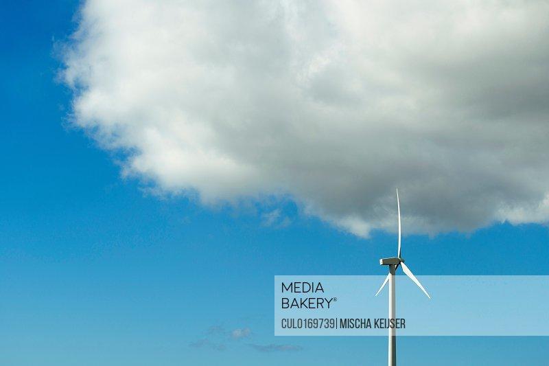 Modern wind turbine Burgervlotbrug Noord-Holland Netherlands