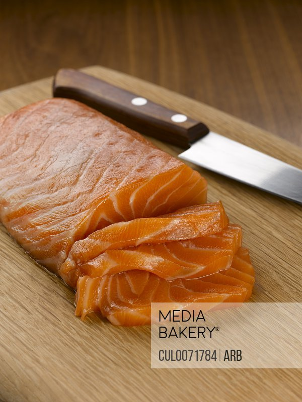Close up of sliced salmon