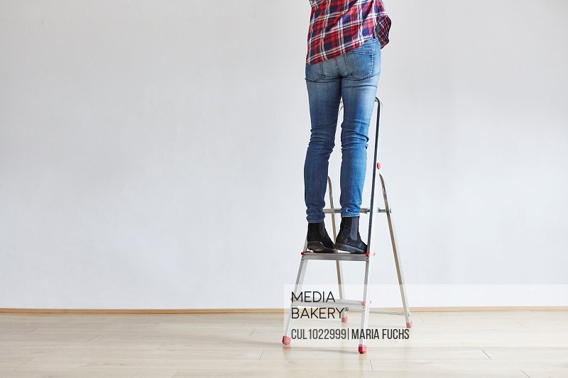 Person standing on ladder