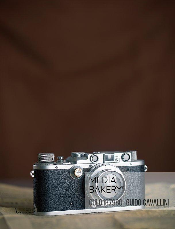 Vintage camera brown background