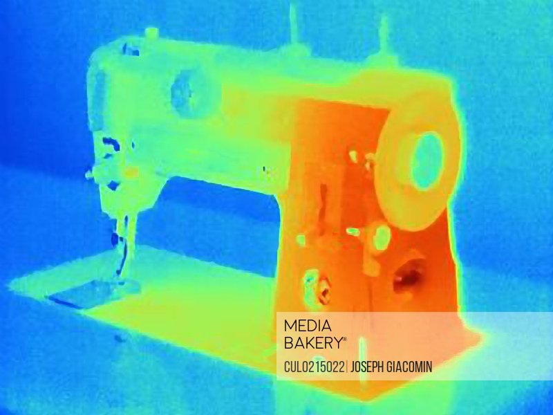 Thermal image of sewing machine