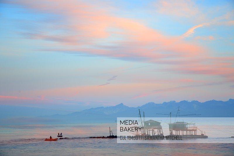 Fishermens home, Tirreno sea at sunrise, Marina Pisa, Tuscany, Italy