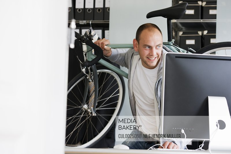 man moving from workplace