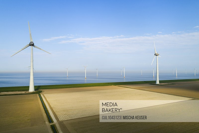 View of fields and wind turbines early in the morning, Flevoland, The Netherlands.