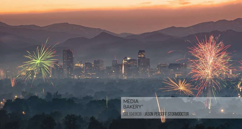 Independence Day fireworks over the City of Denver