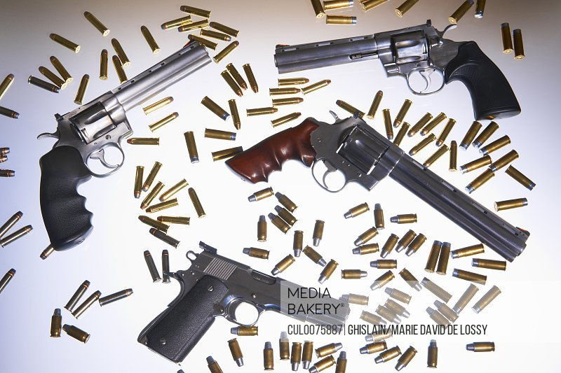 Various handguns and bullets