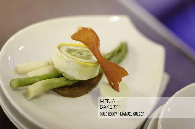Gourmet starter on white plate
