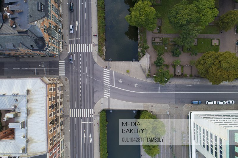 Birds eye view of a road junction over a river in Malmo.