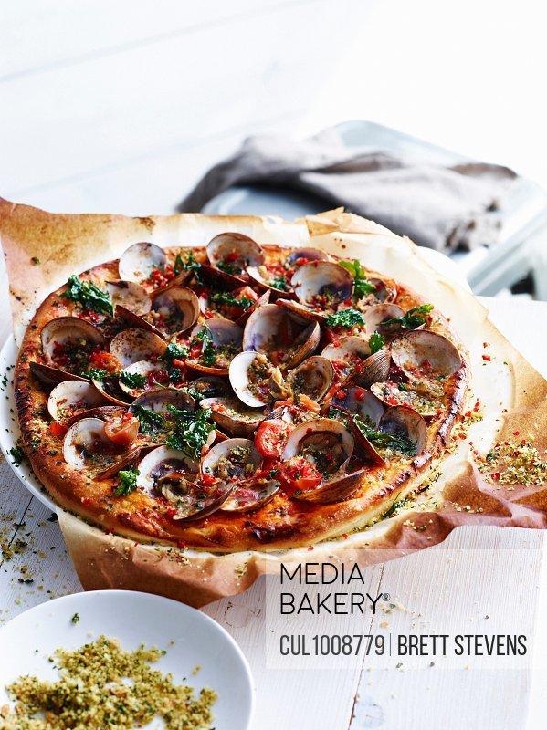 Clam pizza, close-up