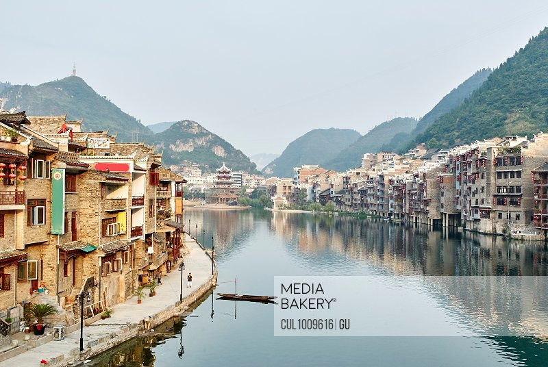 Waterfront cityscape, Zhenyuan, Guizhou, China