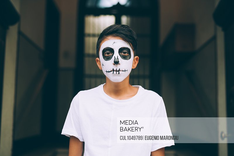 Boy with Halloween face paint