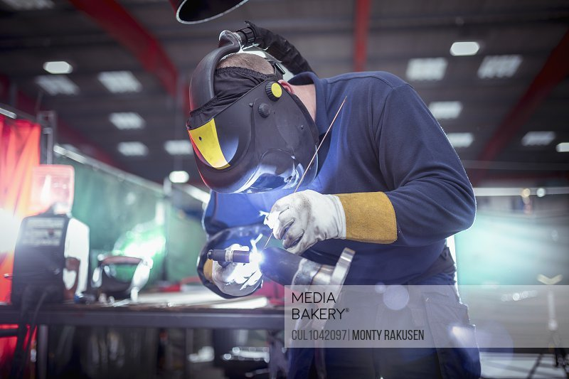 Argon welding in metal fabrication factory.