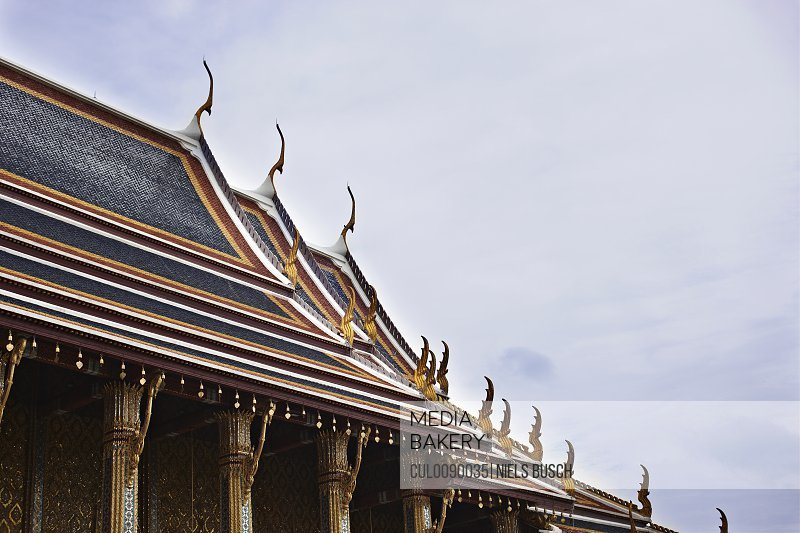 Decorations on ornate temple roof