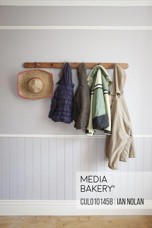 Coats hat on coat rack