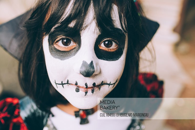 Girl with Halloween face paint