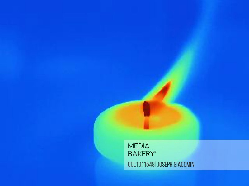 Thermal image of candle burning