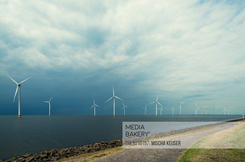 Offshore wind farm, IJsselmeer lake, Espel, Flevopolder, Netherlands