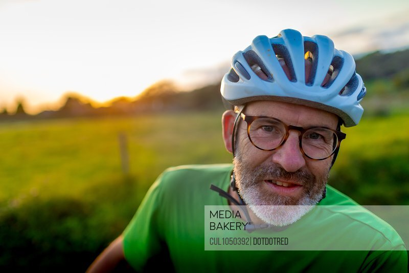Portrait of a cyclist outdoors