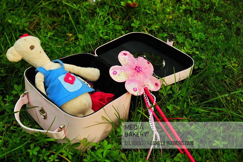 Suitcase with teddy bear and wand