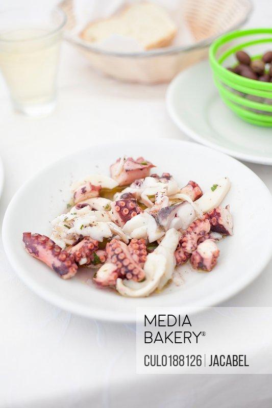 Octopus salad on plate