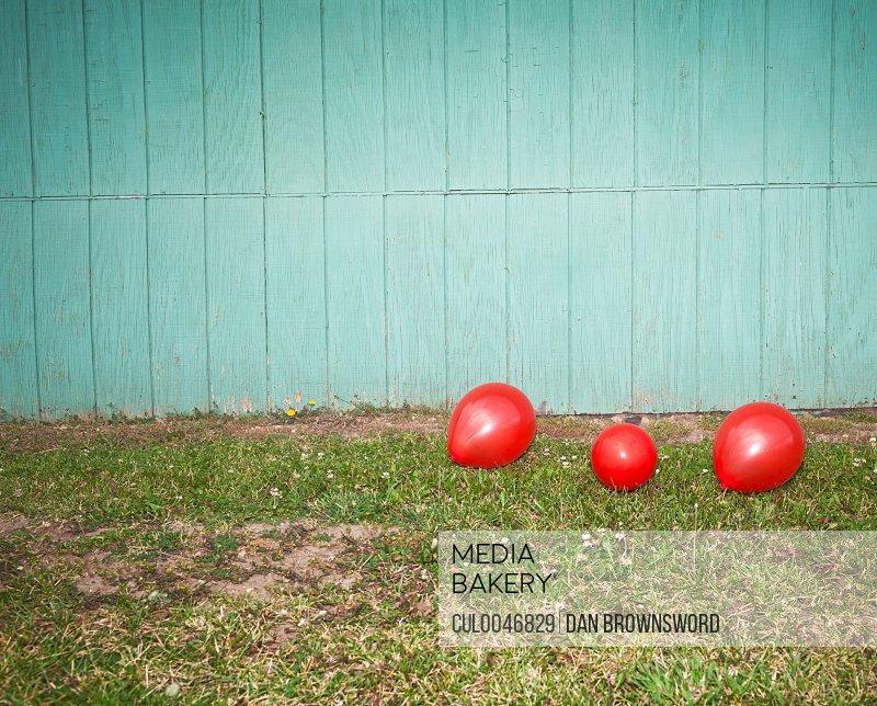 3 balloons against green