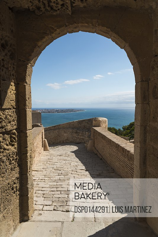 Santa Barbara Castle from Alicante, a fortress built at the end of eleventh century by Muslims; Alicante, Valencia, Spain
