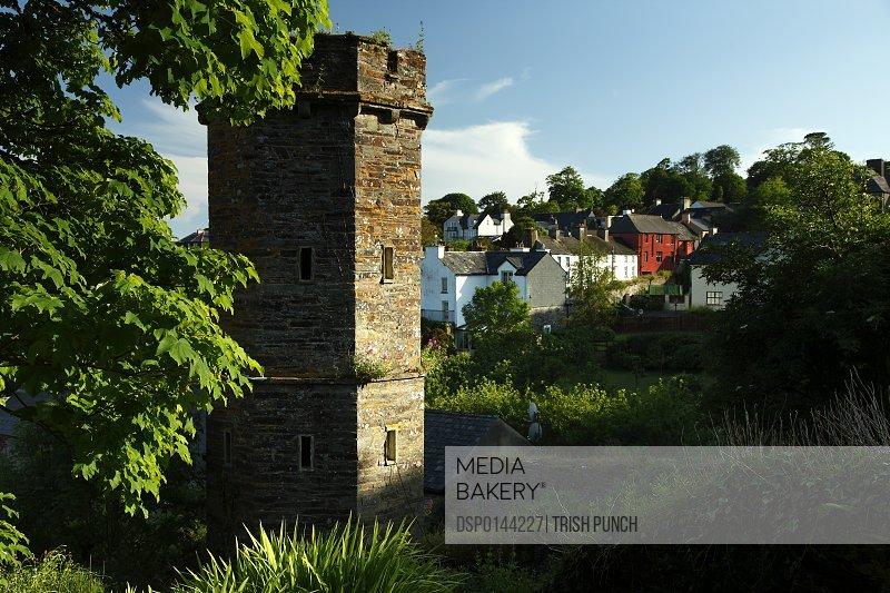 Stone tower in Castletownshend village on the Wild Atlantic Way, West Cork; County Cork, Ireland