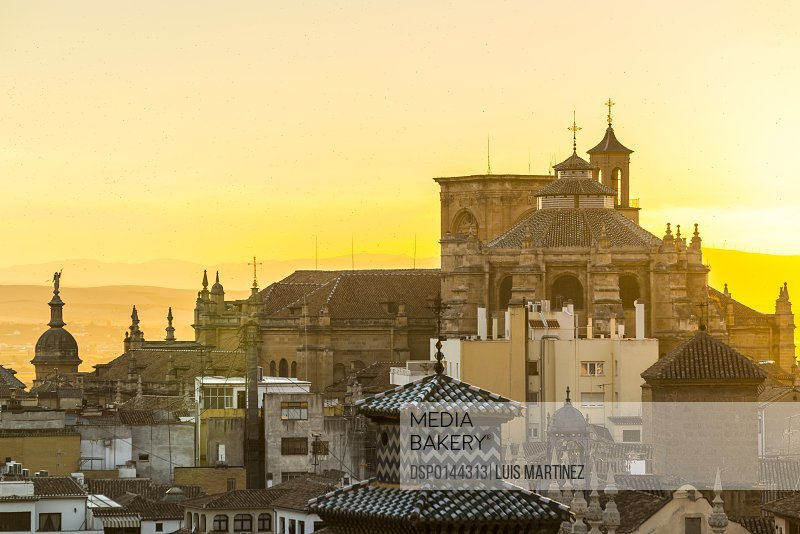 Beautiful view of Granada's Cathedral at sunset; Granada, Andalucia, Spain