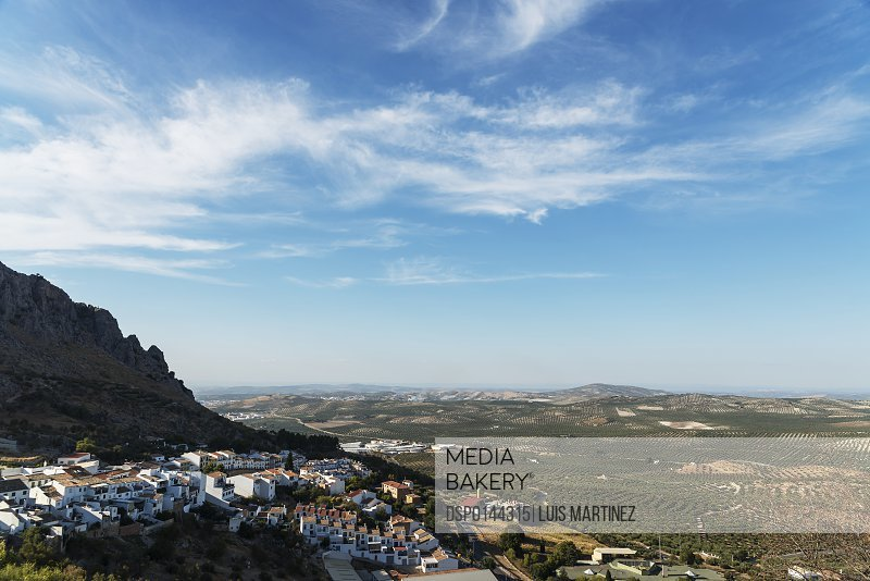 View from the top of Luque, a traditional town surrounded by olive trees; Luque, Cordoba, Andalucia, Spain