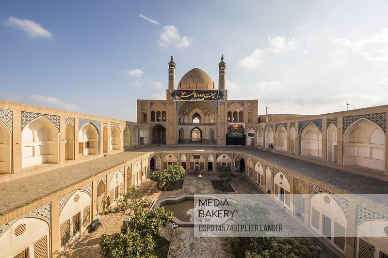 Sunken courtyard of the Agha Bozorg mosque; Kashan, Esfahan Province, Iran