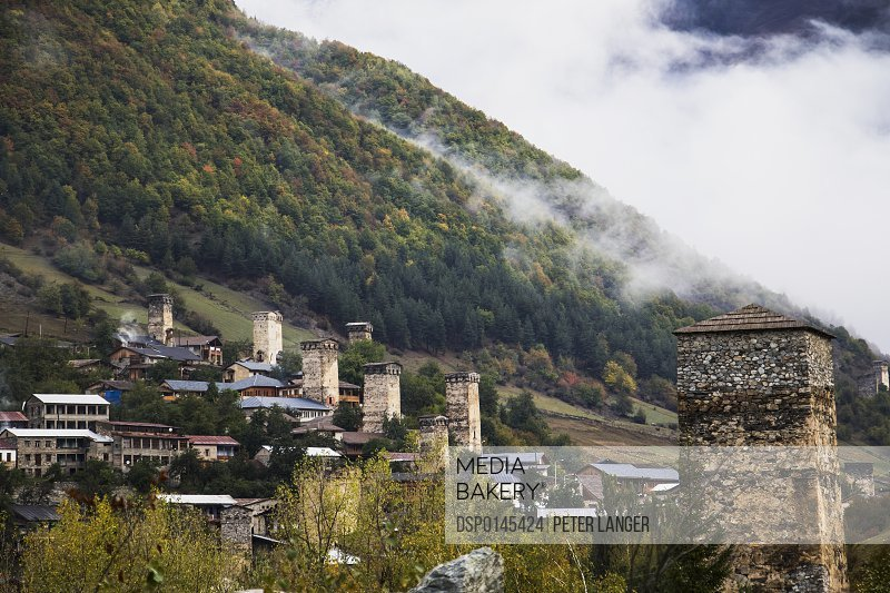 Panoramic view with Svan towers; Mestia, Samegrelo-Zemo Svaneti, Georgia