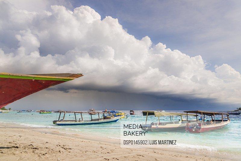 Approaching storm on Gili Trawangan, an island located in between Bali and Lombok island; Gili Trawangan, Indonesia