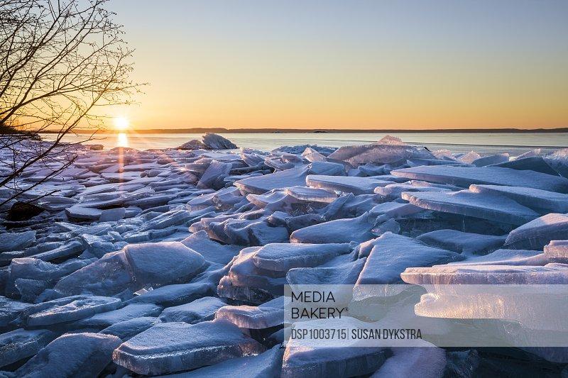 Ice Chunks On Lake Superior; Thunder Bay, Ontario, Canada
