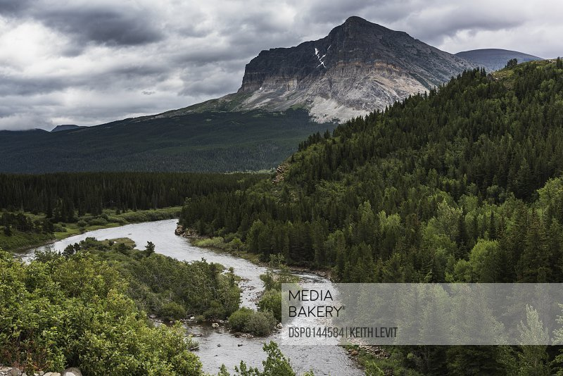 Dense forest, rugged mountain and river flowing through the landscape of Glacier National park; Montana, United States of America