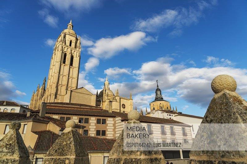 Segovia's Cathedral from the walls of the city; Segovia, Castilla Leon, Spain