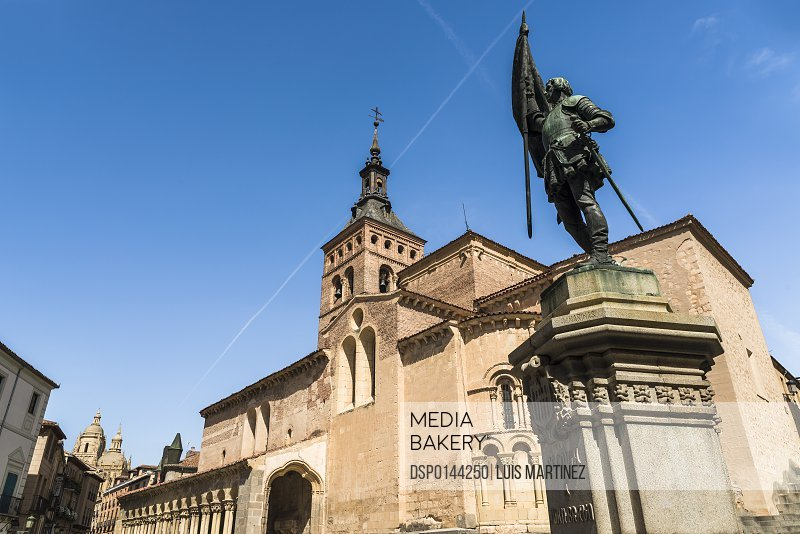 San Martin Church and Juan Bravo statue, Romanic style construction; Segovia, Castilla Leon, Spain