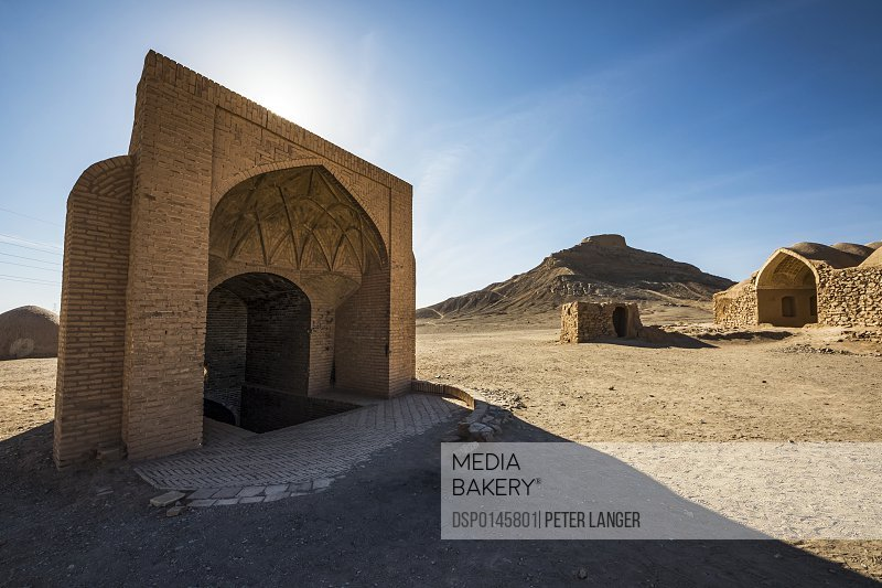 Small adobe structure by the Zoroastrian Towers of Silence; Yazd, Iran