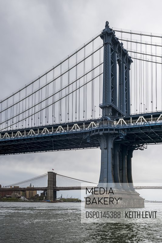 Manhattan Bridge, with the Brooklyn Bridge in the distance; New York City, New York, United States of America