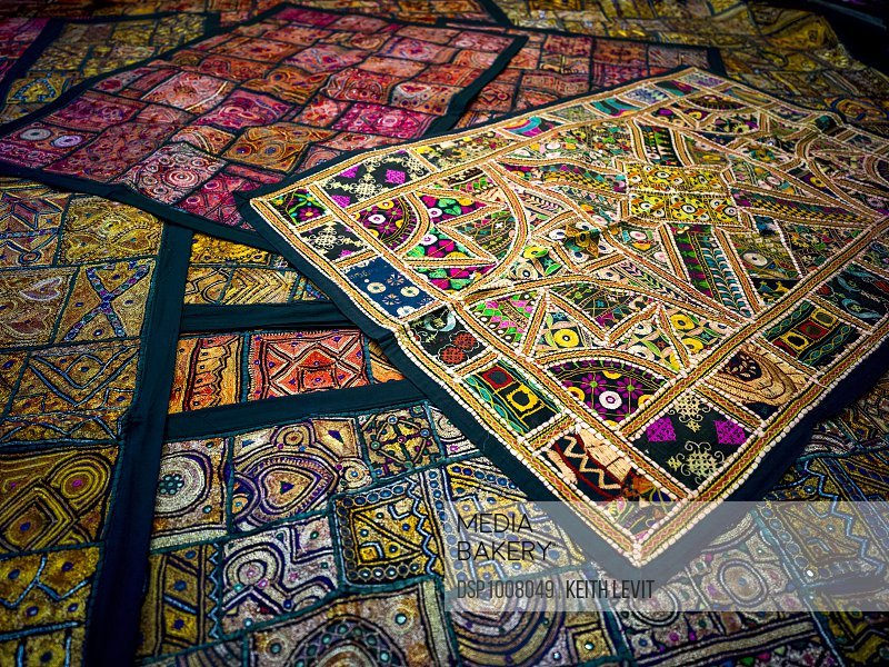Display of colourful and decorative textiles; Jaisalmer, Rajasthan, India